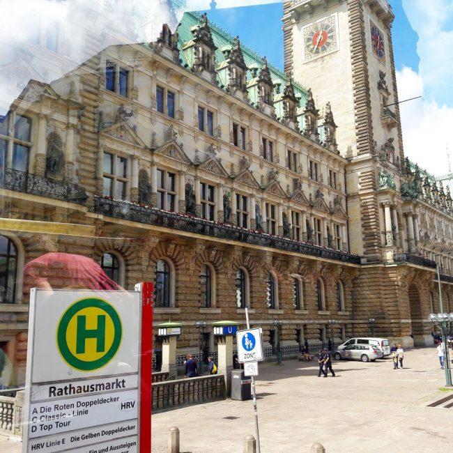Doppeldecker Bus Station Rathaus Hamburg