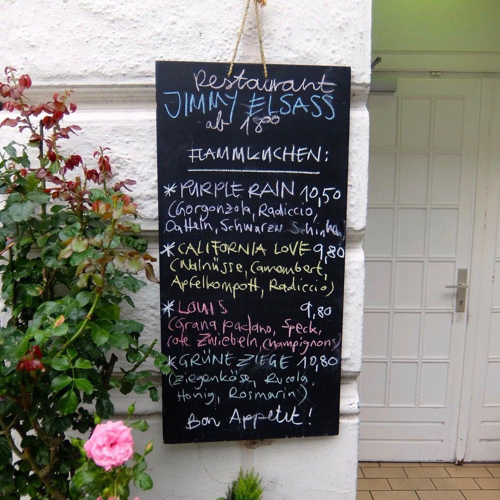 Jimmy Elsass Eingang, saisonale Speisekarte